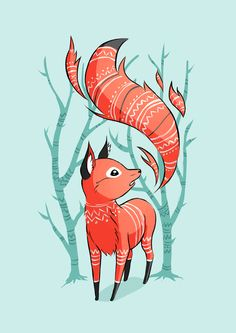 Winter Fox Art Print - I really like the trees in the background