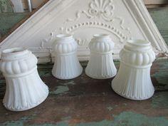 Antique Set 4  Victorian Satin White Milk Glass Lamp Globe Shade