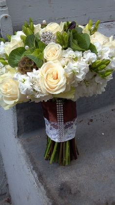 green, ivory and chocolate wedding bouquet
