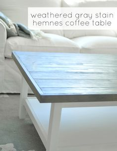 "Rustic/Coastal Weathered Gray Coffee Table - Glue 2"" and 4"" strips of wood to top of Ikea Hemnes coffee table, stain with Rust-Oleum Ultimate Wood Stain in Weathered Gray"