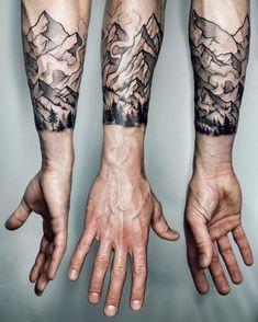 Mountain tattoo sleeve designs, sleeve tattoos, body tattoos, new tattoos. Colorful Sleeve Tattoos, Sleeve Tattoos For Women, Tattoo Sleeve Designs, Arm Tattoos For Guys, Tattoo Designs Men, Tattoo Sleeves, Tattoos Arm Mann, Forearm Tattoos, Body Tattoos