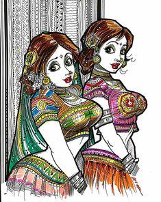 Art Forms Of India, India Art, Cartoon Girl Drawing, Cartoon Art, Cartoon Girls, Indian Women Painting, Indian Art Paintings, Indian Art Gallery, Sexy Painting