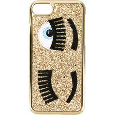 Chiara Ferragni Glitter Iphone 7 Case ($32) ❤ liked on Polyvore featuring accessories, tech accessories, gold and chiara ferragni
