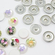 20Sets DIY Chunk Making Snap Button Mixed Printed Flat Round Platinum BUTT-X0008
