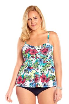 6a547fa8879 Always For Me Botanical Garden Underwire Plus Size Swim Top Plus Size  Underwire Swimwear