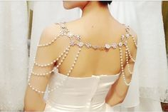 wedding jewelry pearl necklace bridal shoulder by happyshopmall, $80.00 - I absolutely must wear this!