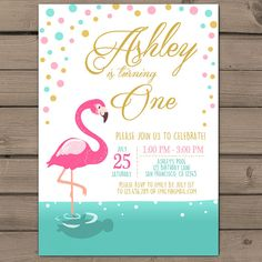Flamingo party invitation Flamingo birthday invitation Flamingo pool party beach party Pink mint Gold Confetti Digital Printable ANY AGE