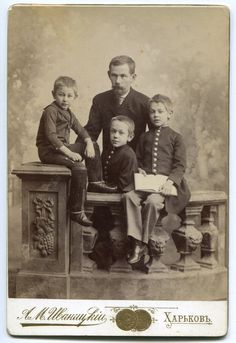 Russia Ukraine photo beautiful photo father and three boys in uniform Vintage child photograph Cabinet Photo 1890s Cabinet Card by PhotoMemoriesLane on Etsy