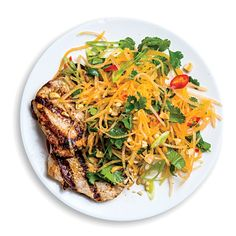Pork Cutlets with a Cantaloupe Salad A ripe cantaloupe is one of the most intoxicating pieces of produce under the sun—use it creatively. Cantaloupe Salad, Cantaloupe Recipes, Cilantro Recipes, Pork Recipes For Dinner, Meat Recipes, Salad Recipes, Cooking Recipes, Recipies, Grilling Recipes