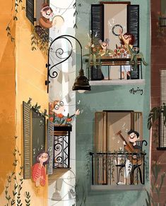 Inspired by the Italian people in isolation who were singing together from their balconies Rain Wallpapers, Cute Wallpapers, Illustrator, Dark Artwork, Doodles, Pastel Wallpaper, Naive Art, Cute Images, Children's Book Illustration
