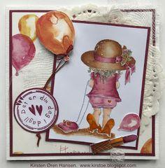Kirstens Hobbyblogg: Bursdagskort til jente 4 år. Digital Pencil, Copic Markers, Decorative Plates, Rose, Cards, Pink, Roses, Maps, Playing Cards