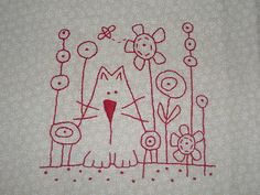 stitchery from Anni Downs (Hatched and patched)… Free Motion Embroidery, Hand Embroidery Patterns, Embroidery Applique, Cross Stitch Embroidery, Cross Stitch Patterns, Machine Embroidery, Embroidery Designs, Red Work Embroidery, Flower Embroidery