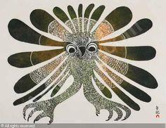 Vintage Inuit Illustration  HAPPY LITTLE OWL  ASHEVAK Kenojuak, *1927 (Canada)