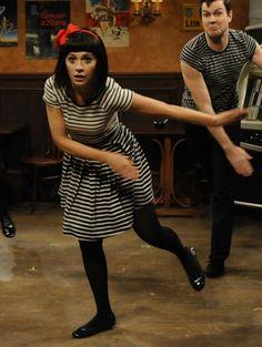 Zooey Deschanel's Striped dress from SNL.  Outfit Details: http://wwzdw.com/z/2750/ #WWZDW