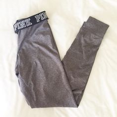 VS Pink Gray Ultimate Joggers Pants Brand new with tags VS Pink Ultimate joggers or pants in heather gray. Waistband is black & says PINK in white. Feels like Nike pro material. PINK Victoria's Secret Pants Skinny
