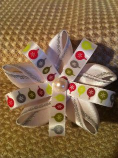 Girls hair bow. Christmas ornaments with pearl center. by MelBelleBoutique on Etsy, $5.00