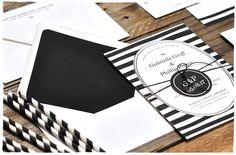Casual Stripe Wedding Invitation Suite | Black and White | Smitten On Paper