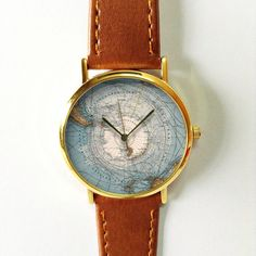 South Pole Map Watch Vintage Style Leather Watch by FreeForme