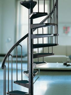 Buy Online in Fontanot Spiral Staircase. The best choice for indoor use: this steel made stair will help you to gain space in small flats. Spiral Stairs Design, Spiral Staircase, Staircase Design, Mezzanine Loft, Stair Ladder, Diy Outdoor Furniture, Steel Structure, Architecture Details, Space Saving
