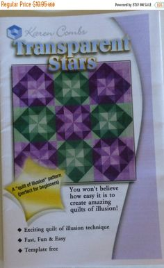 BLACK FRIDAY SALE Pattern, Transparent Stars by Karen Combs,Quilt, Fast, Fun and Easy,Quilt of Illusion, Fast Shipping Pt257