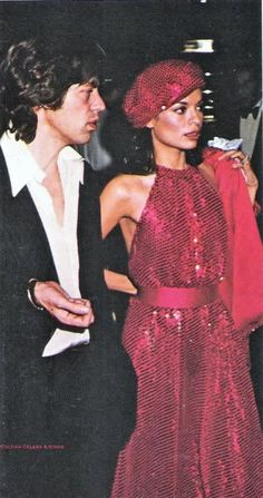 """bianca and mick jagger are our top choice in the """"70s glamrock relationship"""" category."""