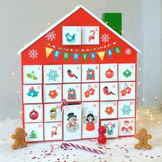 This sweet advent calender has 24 little wooden drawers that are all numbered and have a festive hand painted design on them including Santa Claus and Rudolph. It is ideal for small advent treats and gifts. There are two slightly larger drawers for day Wooden House Advent Calendar, Childrens Advent Calendar, Fabric Advent Calendar, Christmas Time, Christmas Crafts, Christmas Ideas, Advent Calenders, Paint Designs, Merry Christmas