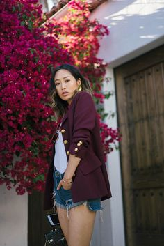 Denim Shorts and Vintage Blazer | Song of Style