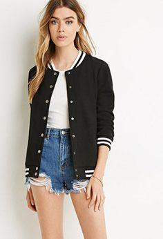 *FOREVER 21    Varsity-striped bomber jacket   Cazadora con rayas