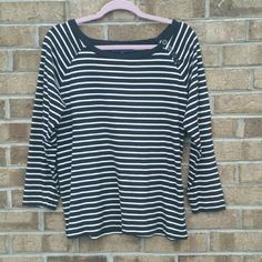💜Sale!💜 Black and White Striped Blouse -Jones New York -Black and white striped -Button detailing on left shoulder -Size 1X 100% Cotton Jones New York Tops Blouses