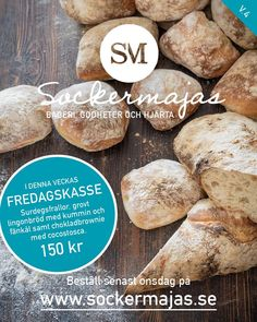 Nu går det bra att beställa fredagskassen v.4. Beställ senast onsdag kväll. Leverans i Hästevik amultområdet mellan 15.00 -17.00. Det går också bra att hämta upp din kasse på café frid och fröjd på Linnégatan 3. #sockermajas #Fredagskassen #bröd #bakverk