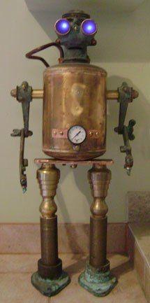 Bobbie, Tal Avitzur. bronze marine pump, brass candle holders, brass tank, gauge, metal scrap yard objects