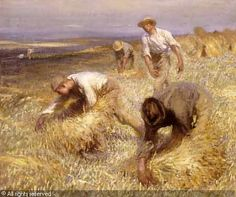 George Clausen (1852-1944): Binding Sheaves, 1905 John The Baptist, Summer Solstice, Harvest Time, Farmers, Artist, Hands, Painting, Paint, Summer Solstace