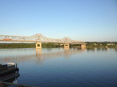 View east from downtown peoria illinois. Murray-Baker Bridge (I-74) over the Illinois River.
