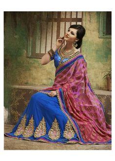 Stunning Blue Color Viscose & Net Lehenga Saree Color: Blue Fabric: Viscose, Net & Dupian