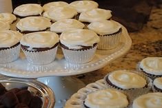 Cupcakes with Lindt truffles baked into the center.  I've been meaning to try these for months.