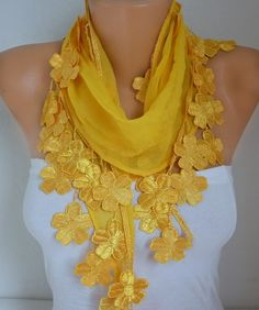 Yellow Floral Cotton Scarf Fall Summer #Scarf #necklace ecklace #fashion #christmas