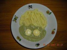 Brokolicová omáčka se žloutkem a bramborovou kaší Grains, Rice, Food, Essen, Meals, Seeds, Yemek, Laughter, Jim Rice