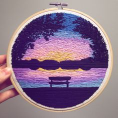 Sunset by the Water • Custom Order • 7 inch. Swipe right  for inspiration. • • • • #embroidery #embroideryart #embroideryhoop…