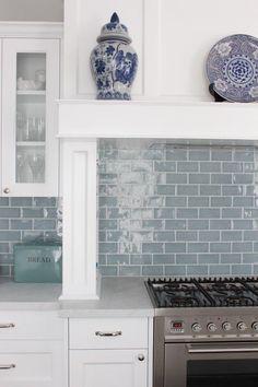 Pale Dusty Blue Subway Tiles & White Woodwork. Beautiful and classic. #kitchen #kitchens #whitekitchen, #subwaytile #kitchenideas