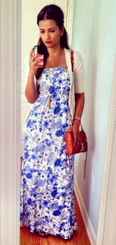 Old Navy Blue & White Floral Tube Maxi Dress