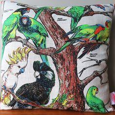 Vintage Retro Australian Cockatoo Birds Cushion | Merry-Go-Round on Madeit Advance Australia Fair, Australian Birds, Merry Go Round, Cockatoo, Aqua Blue, Decorative Pillows, Retro Vintage, Cushions, Jasmine