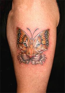 Unique Tiger Butterfly Tattoo