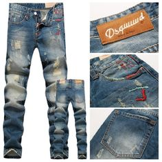 Fashion DSQ Brand Men's Jeans,Straight cotton washed hole Denim D2 Jeans skinny overalls ripped jeans $42.5