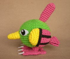 Natu is a cute pokemon, he has these big eyes like a night-hawk that were very hard to get right lol. I tried to make the wings all croch. Pokemon Crochet Pattern, Crochet Dolls Free Patterns, Crochet Doll Pattern, Doll Patterns, Diy Crochet, Crochet Crafts, Crochet Toys, Crochet Ideas, Crochet Baskets