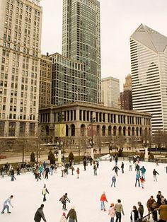 Ice skating at Chicago's Millennium Park.