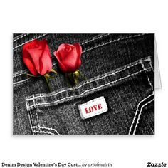 Love. Red Roses and Black Denim Design Valentine's Day Customizable Greeting Cards. Matching cards, postage stamps and other products available in the Holidays / Valentine's Day Category of the artofmairin store at zazzle.com