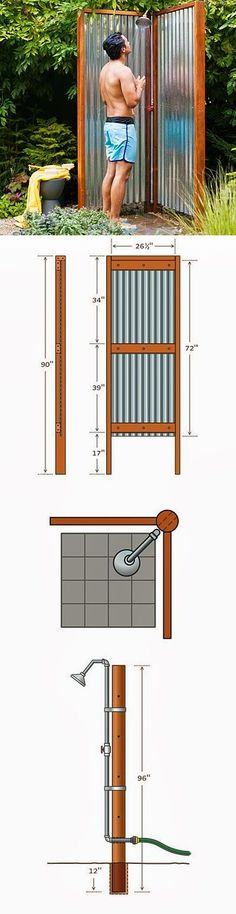 How to Build an Outdoor Shower. Love this. Would be great for my sometimes muddy doggie-girls too.
