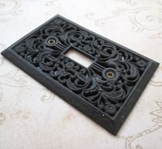 Switch Plate Light Cover, Vintage, Decorative Switch Plate, Light Switch Cover, Metal Cast, Single Toggle, Filigree, Black switchplate