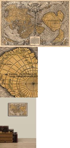 """1507 Historic Map by Waldseemuller First Map to Name /""""America/"""" 14x24"""