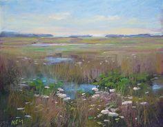 Summer Wetlands with wildflowers Art Original Pastel Painting